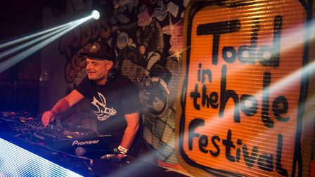 Dave Pearce on the decks at Todd in the Hole Festival.