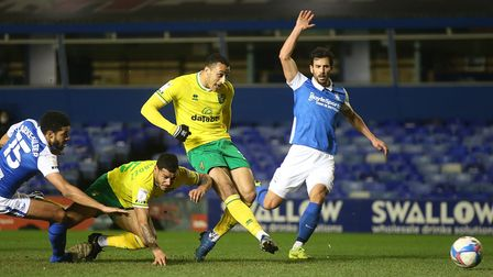 Adam Idah of Norwich has a shot on goal during the Sky Bet Championship match at St Andrews, Birming