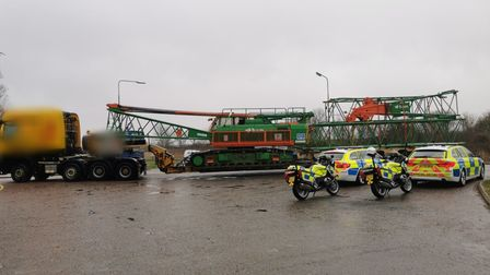 Police stop long vehicle in Great Yarmouth