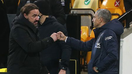 Norwich Head Coach Daniel Farke and Nottingham Forest Manager Chris Hughton at the end of the Sky Be