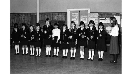 16th Ipswich Girls Brigade during their open evening in February 1985