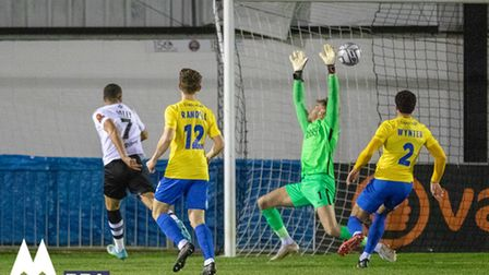 Josh Coley of Maidenhead Utd volleys in the opening goal during the National League Match between Ma