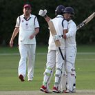 Jonathan Das and Naivedyam Dwivedi celebrate Wanstead's victory during Brentwood CC vs Wanstead and