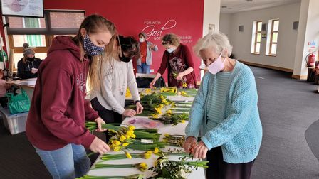 Members of Christ Church in St Albans marked Mother's Day with bunches of daffodils