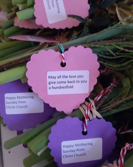 Each bunch of Mother's Day daffodils prepared by members of Christ Church St Albans had a heart-shaped card attached