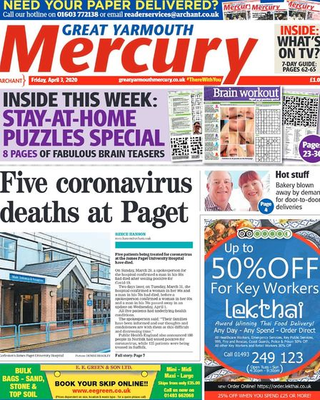 Yarmouth Mercury front page April 2020