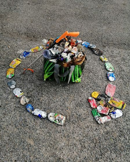 Kilda Giraudon has been collecting discarded cans from his daily walks around Ottery and has turned them into mosaics