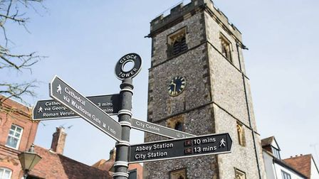 The medieval Clock Tower in St Albans is undergoing essential works following a grant from Historic