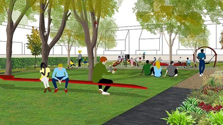 An artist's impression of one of the three design options for Woodfall Park