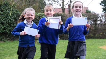 Daisy, Kieran and Lara. Fairfield Primary school have been writing letters and drawing pictures to s