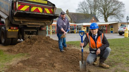 Halit Kol, assistant site manager, and Horsford Primary School caretaker Geoffrey Botwright