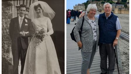 Side by side of Bill and Anne Daughtrey on their wedding day and in recent times