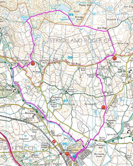 Our route, onOS Explorer OL7 The English Lakes South Eastern Area