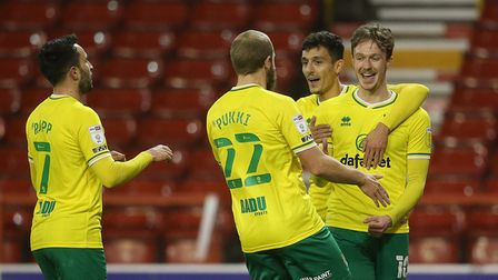 Kieran Dowell of Norwich celebrates scoring his side's 2nd goal during the Sky Bet Championship matc