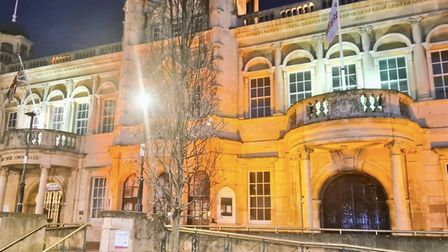 Redbridge Town Hall lit up orange in memory of Sarah Everard