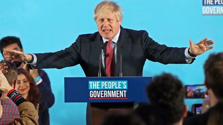 Boris Johnson at a rally with party supporters after the Conservative Party was returned to power in the General Election...