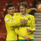Kieran Dowell of Norwich celebrates scoring his side's 2nd goal during the Sky Bet Championship ma