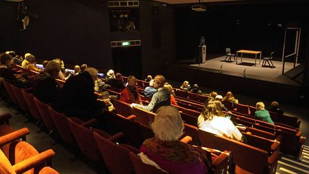 The Abbey Theatre auditorium in St Albans adapted for a COVID-19 safe audience.