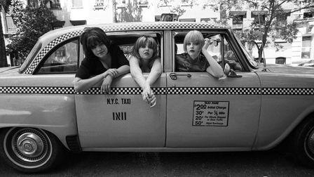 Kenickie in a New York taxi in 1997. From left: Emmy-Kate Montrose, Marie Du Santiago and Lauren Laverne