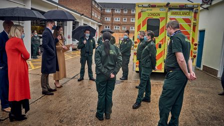 William and Kate during their visit to Newham Ambulance Station.