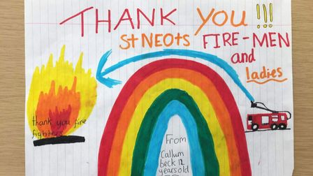 Thank you messages were posted on the doors of St Neots Fire Station.