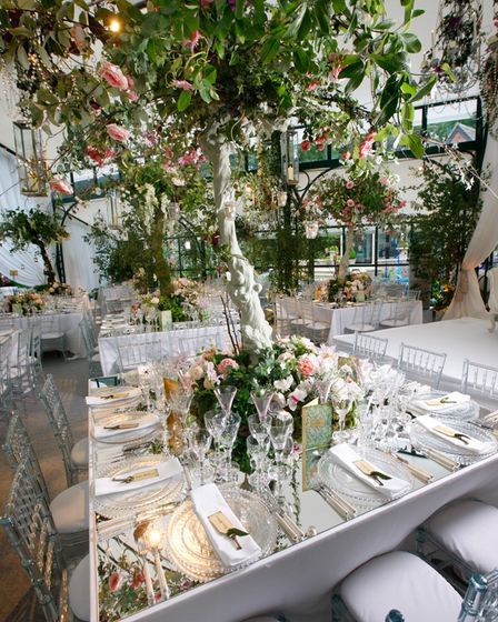 A table set for lunch with a tree as the centrepiece, by Julie Perry Events