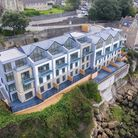 Aerial view of luxury Marine Place Clevedon development which is set into the cliff-face. One is up for sale.