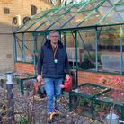 Alan Kingsford working in the hospice garden