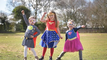 Children enjoyed a day of fun dressing up as their favourite superheroes for Red Nose Day. Lyla, Da