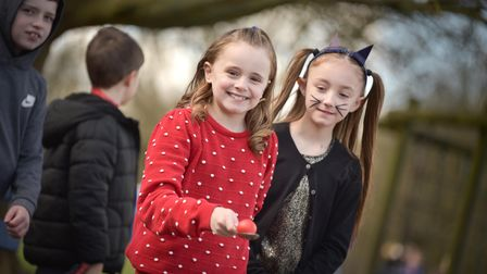 """Children at Martlesham Primary Academy playing a """"Red Nose and spoon"""" race"""
