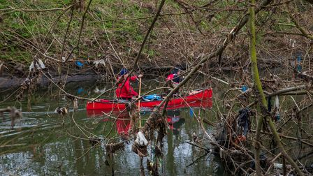 Rubbish found along the Lea's banks include plastic sacks, bags, wet wipes, sanitary pads and tobacco pouches.