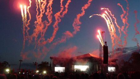 Fireworks explode above the Apollo stage during Metallica's headline set at Sonisphere 2011 at Knebworth