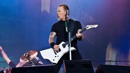 James Hetfield of Metallica on stage at the 2011 Sonisphere Festival at Knebworth.