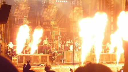 Rammstein on the Apollo stage at Sonisphere Festival 2010 at Knebworth.