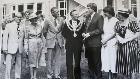 David Dimbleby opening Rowcroft - thefirst patients were admitted to the hospice in May, 1982.