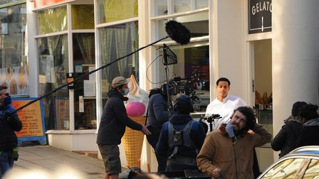 Daryl McCormack on set, on Opie Street in Norwich, for the filming of new comedy drama Good Luck to
