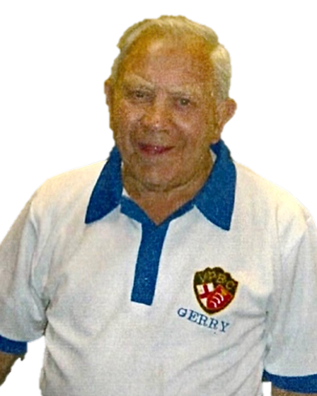 Gerry Skinner wearinghis Victoria Park bowls shirt.