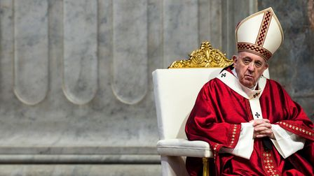Pope Francis celebrates a Holy Massin St. Peter's Basilica at the Vatican, in June 2020