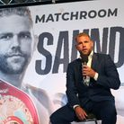 Billy Joe Saunders at a press conference after signing for Matchroom Boxing