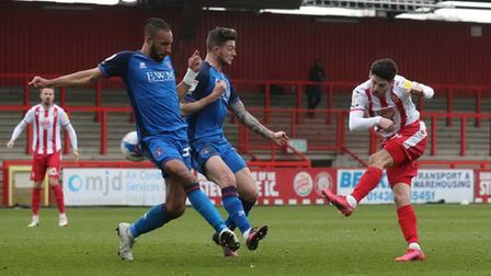 Tom Pett volleys Stevenage into the lead against Carlisle United