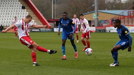Luke Norris of Stevenage scores the second goal against Carlisle United