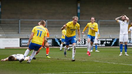Goal celebrations for Scott Boden of Torquay United during the National League match between Torquay