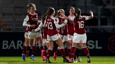 Arsenal's Lotte Wubben-Moy (second right) celebrates scoring their side's second goal of the game du