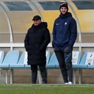 Gary Johnson, Manager of Torquay United and Kyle Cameron of Torquay United before the National Leagu