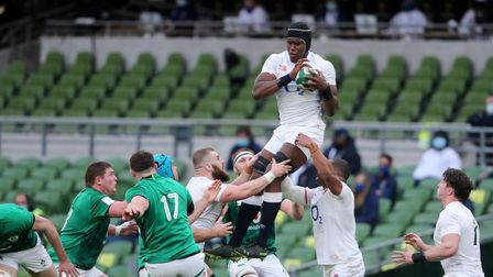 England's Maro Itoje claims the line out during the Guinness Six Nations match at the Aviva Stadium,