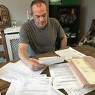 Tony Farrugian has amassed a hugh amount of paperwork relating to his father's death over the last 10 years.