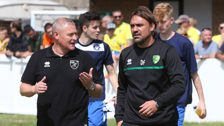 Norwich First Team Coach Frankie McAvoy and Norwich Manager Daniel Farke before the Pre-season Frien