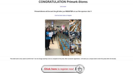 """The link on the post takes """"winners"""" to a site to enter their details."""
