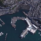 Brixham Harbour, with the fish market in the foreground