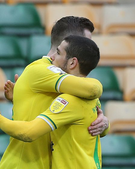 Kenny McLean of Norwich celebrates scoring his sides 1st goal during the Sky Bet Championship match